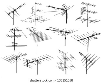 Set of silhouettes of different television aerials (antenna).