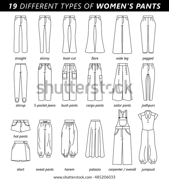 Set Silhouettes Different Types Womens Pantstrousers Stock Vector Royalty Free 485206033