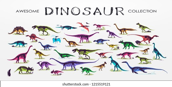 Set, silhouettes, dino skeletons, dinosaurs, fossils. Hand drawn vector illustration. Comparison of sizes, realistic Sketch collection: diplodocus, triceratops, tyrannosaurus, doodle pattern...