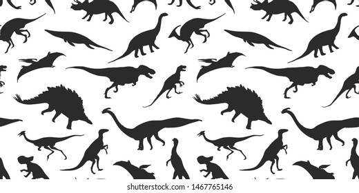 Set of silhouettes, dino skeletons, dinosaurs, fossils. Hand drawn vector illustration. Dinosaurs in realistic Sketch collection: triceratops, tyrannosaurus, doodle pattern