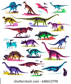 Set, silhouettes, dino skeletons, dinosaurs, fossils. Hand drawn vector illustration. Comparison of sizes, realistic Sketch collection: diplodocus, triceratops, tyrannosaurus, doodle pattern.