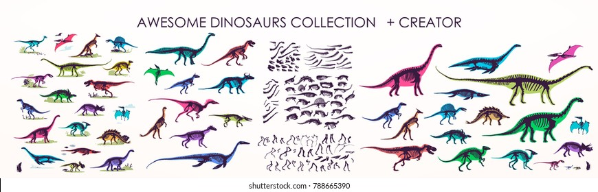 Set of silhouettes, dino skeletons, dinosaurs, fossils. Hand drawn vector illustration. Comparison of sizes, realistic Sketch collection: diplodocus, triceratops, tyrannosaurus, doodle pattern.