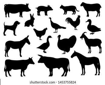 Set of silhouettes of domestic farm animals. Vector illustration livestock isolated on white, side view profile. Collection silhouette of domestic cattle.