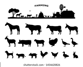 Set silhouettes domestic farm animals. Collection rural animals. Concept of farming and livestock. Vector illustration isolated on white.