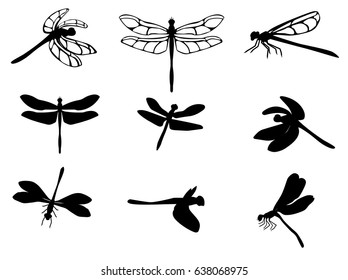 Set of silhouettes of dragonflies, vector EPS 10