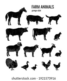 Set of silhouettes of farm animals: horse, pig, dog, bull, cow, cat, ram, sheep, goat, rabbit, turkey, goose, duck, rooster, chicken. Grunge style scratches on a separate background