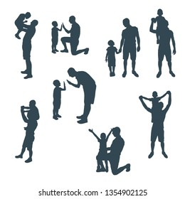 Set of silhouettes of father and child. Man and son in different positions. The boy was five years old.