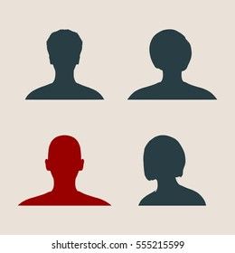 Set of silhouettes of a female head. Flat style. Vector illustration. Profile view