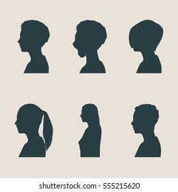 Set of silhouettes of a female head. Flat style. Vector illustration. Side view