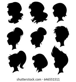 Set of silhouettes of a female profile, vector.