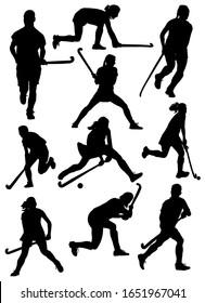 set of silhouettes of field hockey athletes vector illustration