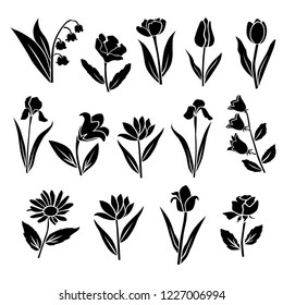 Set of silhouettes of flowers chamomile, rose, tulip, lily, iris, daisy, campanula, wild flowers, vector, black  color, isolated on white background