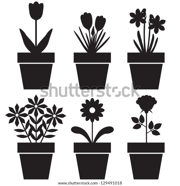 Set of silhouettes of flowers in pots