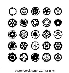 Set of silhouettes gears mechanism automation clockwork