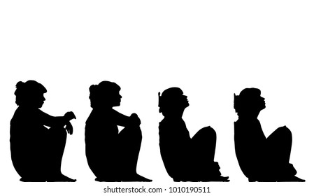 set of silhouettes of a girl in a dress with hair gathered in a tail that sits squatting hugging her knees with her hands and leaning her back against the wall. The girl thinks about something, reflec