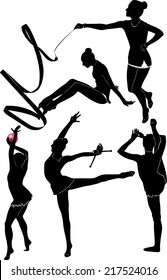 set of silhouettes girl gymnast athlete isolated on white background