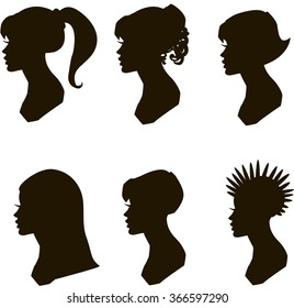 Set silhouettes girls with different hairstyles, vector EPS 10