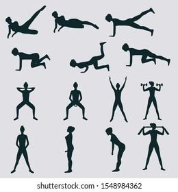Set of silhouettes of girls doing exercises for body muscles - vector. Fitness. Sport Club.