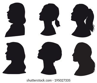 Set of silhouettes of a girls head, face in profile, Isolated on white background