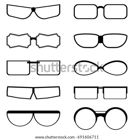 9a2f26a5020 Set silhouettes glasses of different shapes with transparent lenses on  white background. Vector isolated drawing