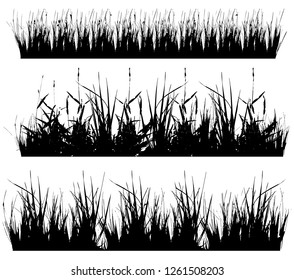 Set with silhouettes of grass, black and white vector illustration