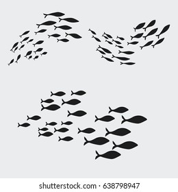 Set silhouettes of groups of sea fishes. Colony of small fish. Icon with river taxers.