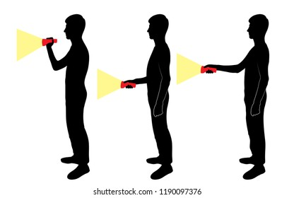Set of silhouettes of a guy with a flashlight