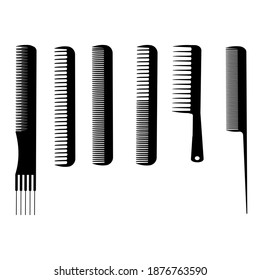 Set of silhouettes of hairdressing combs, tools for combing hair, styling and haircut help, combs with different lengths of thickness and distance of teeth, vector illustration