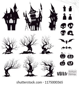Set of silhouettes for halloween gloomy house, sinister trees, fences, graves, skulls, pumpkins and bats. Vector illustration