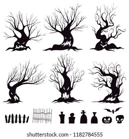Set of silhouettes for halloween sinister trees, fences, graves, skull, pumpkin and bat. Vector illustration