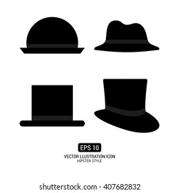 Set of silhouettes of hats on a white background with text