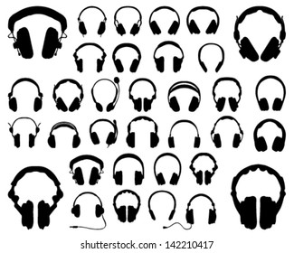 Set of silhouettes of headphones-vector