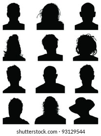 Set of silhouettes of heads 2,vector