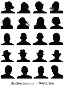 Set of silhouettes of heads 3,vector