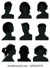 Set of silhouettes of heads 7, vector