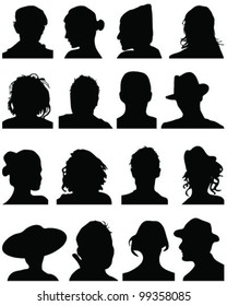 Set of silhouettes of heads 7,vector