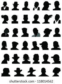 Set of silhouettes of heads 9, vector