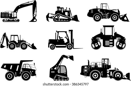 Set of silhouettes heavy construction and mining machines isolated on white background. Vector illustration