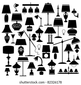 A set of silhouettes of household lamps and floor light