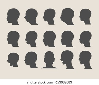 Set of silhouettes of a human's head. Various emotions