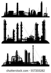Set of silhouettes of industrial zone (factories, refineries and power plants).