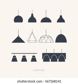 Set of silhouettes of the lamps on a light background. Furniture icons. Vector illustration.