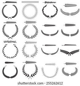 Set of silhouettes of laurel wreaths and branches, vector illustration.