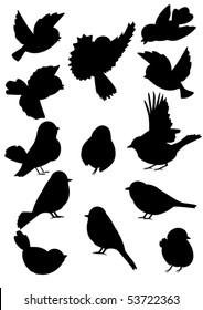 Set of silhouettes little birds