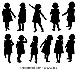 Set of silhouettes of a little girl, vector, different poses,  black color, isolated on white background