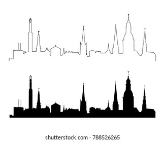 Set of silhouettes of the main sights of Riga. Latvia.Vector illustration.