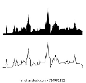 Set of silhouettes of the main sights of Tallinn. Estonia.Vector illustration.