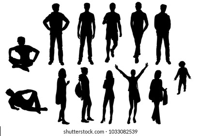 Set silhouettes man and woman standing, sitting,  with hands up, group of people, vector, black color isolated on white background