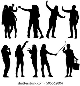 Set silhouettes man and woman taking selfie with smartphone on white background. Vector illustration.