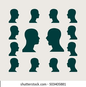 Set of silhouettes of a man's head. Various emotions